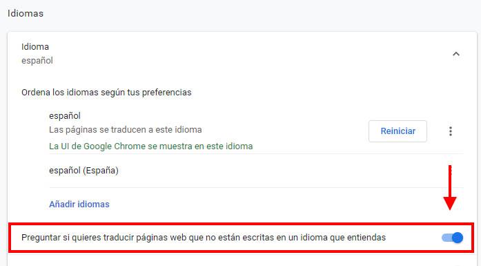 activar traduccion en chrome
