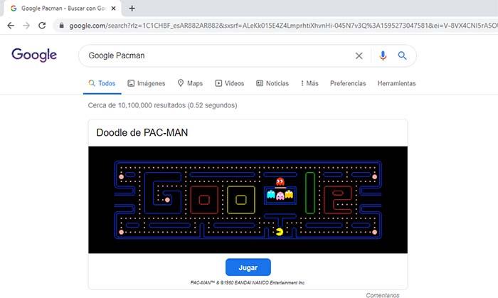 juego pacman truco google+