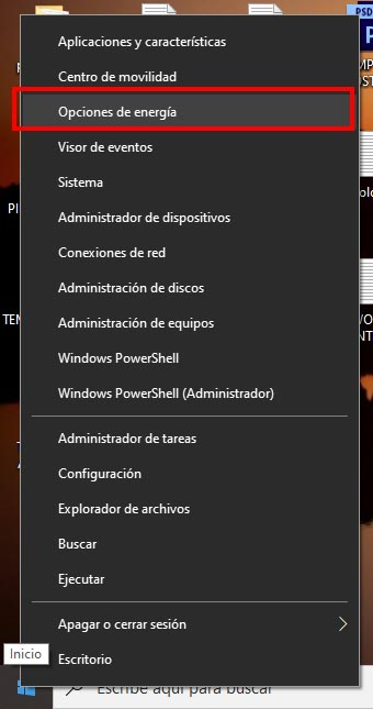 opciones de energia windows 10
