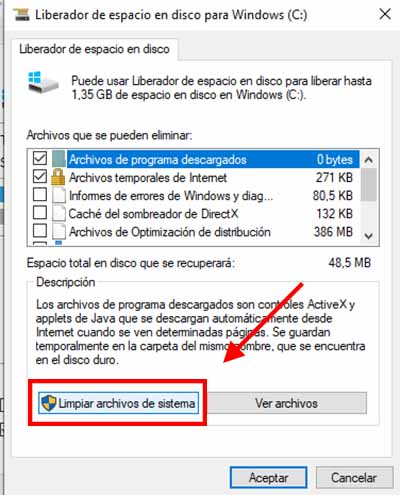 pasos para liberar espacio en windows 10