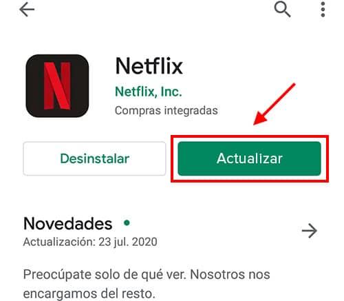 actualizar netflix para android