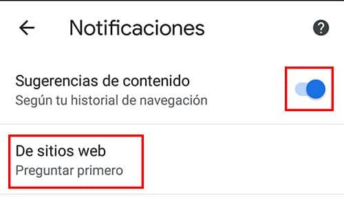 como quitar notificaciones de chrome en android