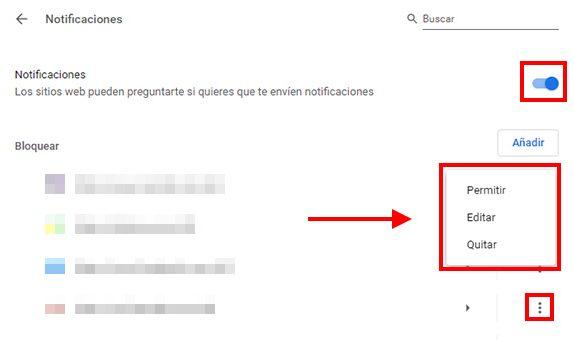 configurar notificaciones de chrome