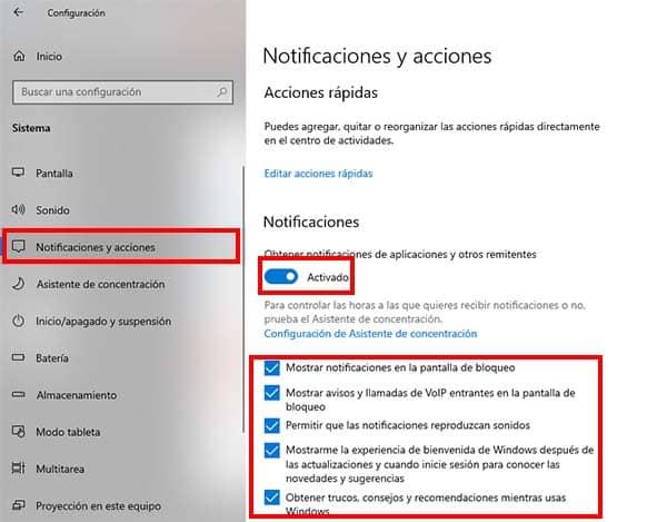 configurar notificaciones y acciones en windows 10
