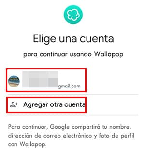 elegir una cuenta google para iniciar sesion en wallapop