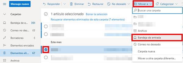 recuperar mail eliminado de hotmail
