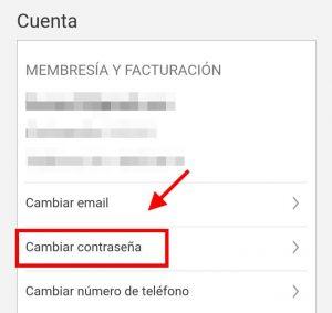 cambiar la contraseña en app netflix