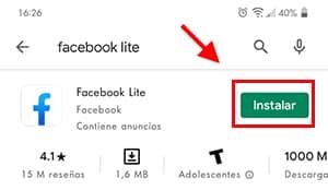como actualizar facebook lite