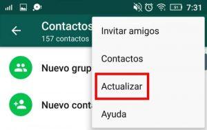 como actualizar lista de contactos whatsapp