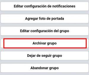 como archivar grupo facebook