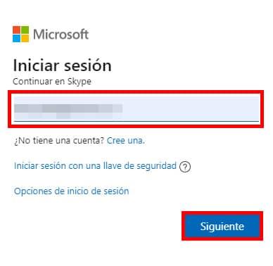 inicio de sesion skype desde web