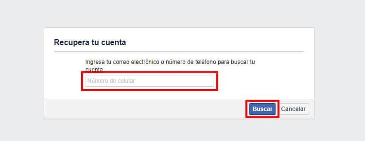 paso 3 para recuperar cuenta facebook
