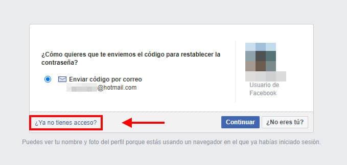 pasos para recuperar acceso a facebook
