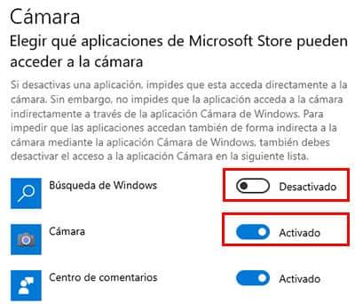 activar y desactivar camara en windows