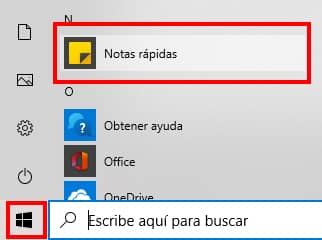buscar notas rapidas en windows