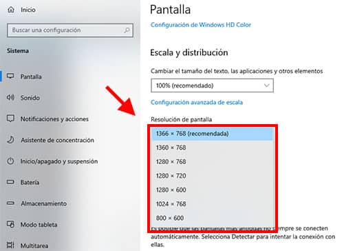 como ajustar resolucón en windows 10