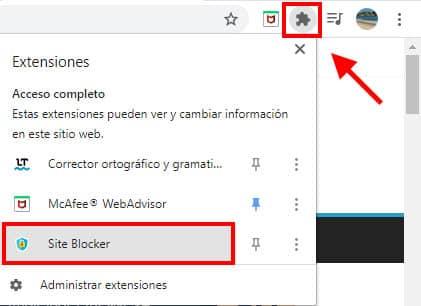 como bloqueo sitios web en chrome
