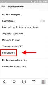 como configurar notificaciones de instagram