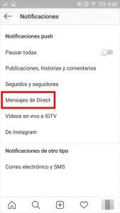 como desactivo notificaciones instagram