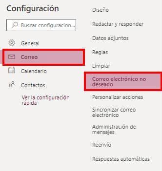 como personalizar correos no deseados hotmail