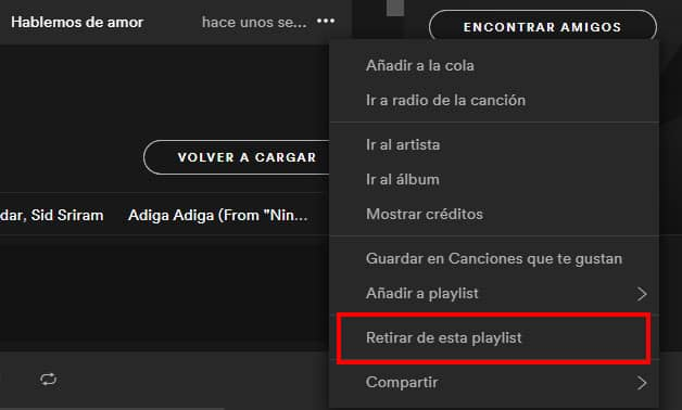 como quitar cancion de playlist spotify