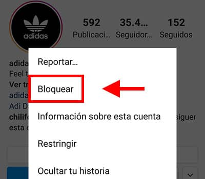 como se bloquea en instagram