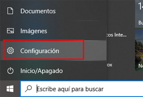 menu configuracion windows