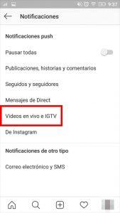 configurar notificaciones de igtv instagram