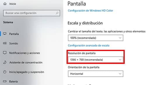 configurar pantalla windows