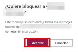confirmar bloquear correo