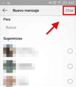 enviar mensaje directo en un grupo instagram
