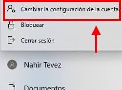 ingresar a configuraciones de usuario en windows