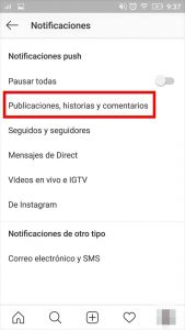 pasos para activar o desactivar notificaciones de instagram