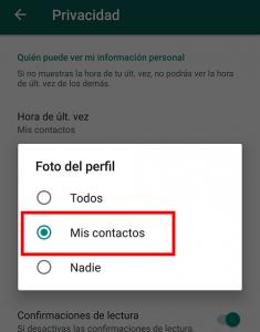 seleccionar la opcion mis contactos