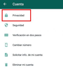 seleccionar privacidad