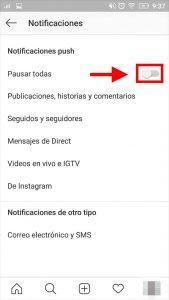 silenciar notificaciones push instagram