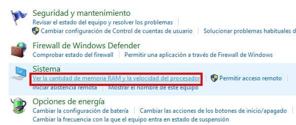 ver cantidad de ram y velocidad de procesador en panel de control