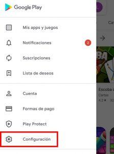 Seleccionar configuracion en google play