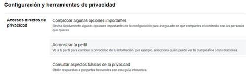 accesos directos privacidad