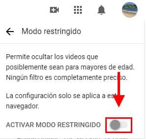 activar modo restringido youtube