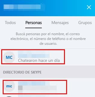 buscar contactos en skype