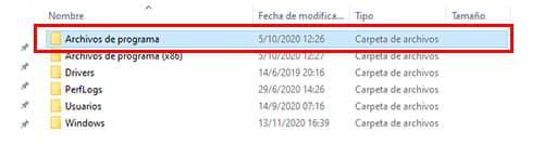 clic en archivos de programas