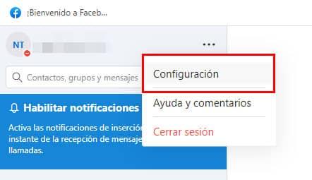 clic en configuracion