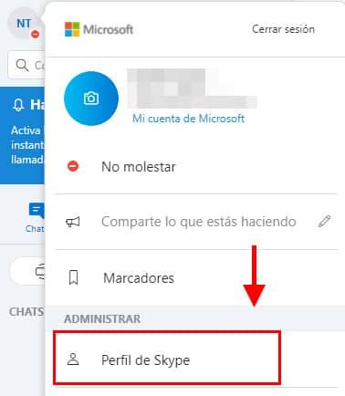 clic en perfil skype