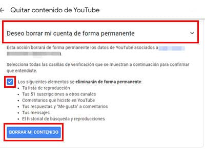 como borrar cuenta de youtube