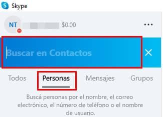 como buscar contactos en skype
