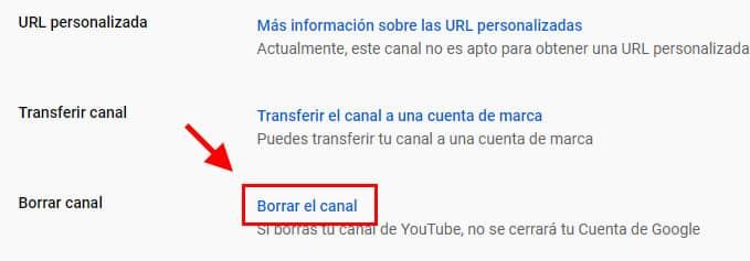 como eliminar cuenta youtube