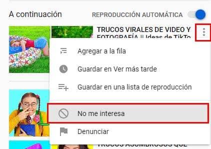 como sacar videos que no me interesan youtube
