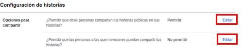 configuracion de privacidad en historias facebook