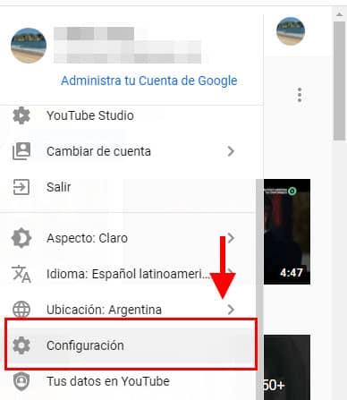 configuracion youtube